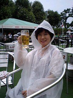 ビールと雨